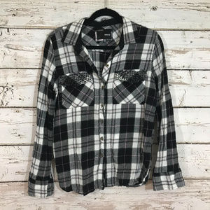 Hurley Black White Pink Plaid Button Up Top